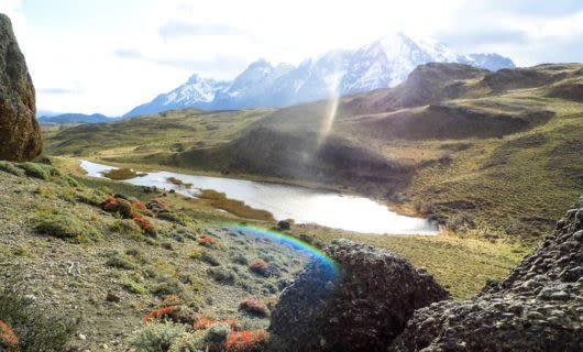 Sunlit Patagonia mountain valley