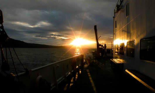 Sunrise over deck of Ushaia cruise ship