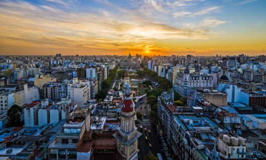 Aerial view of Buenos Aires at sunset