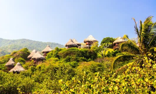 Huts on hill in Tayrona National Park