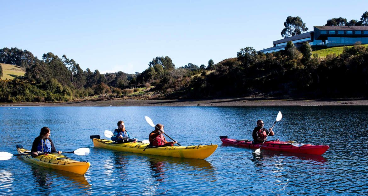 Kayakers near Tierra Chile Hotel
