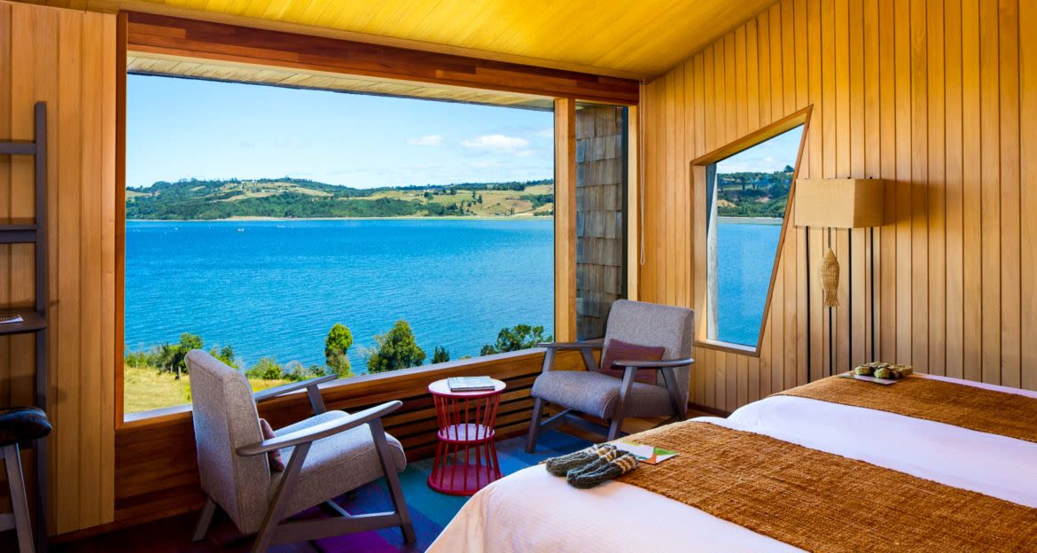 View out window of Tierra Chiloe Hotel room
