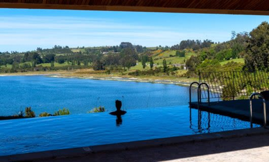 Person admires view from Tierra Patagonia Hotel pool