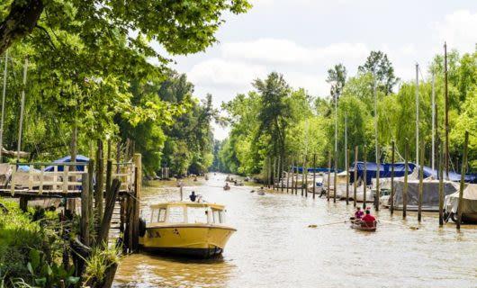 Boats on river of Tigre Delta