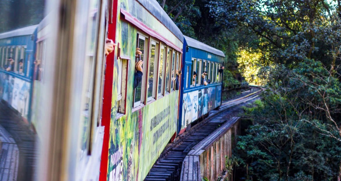 Travelers wave and take pictures out window of train