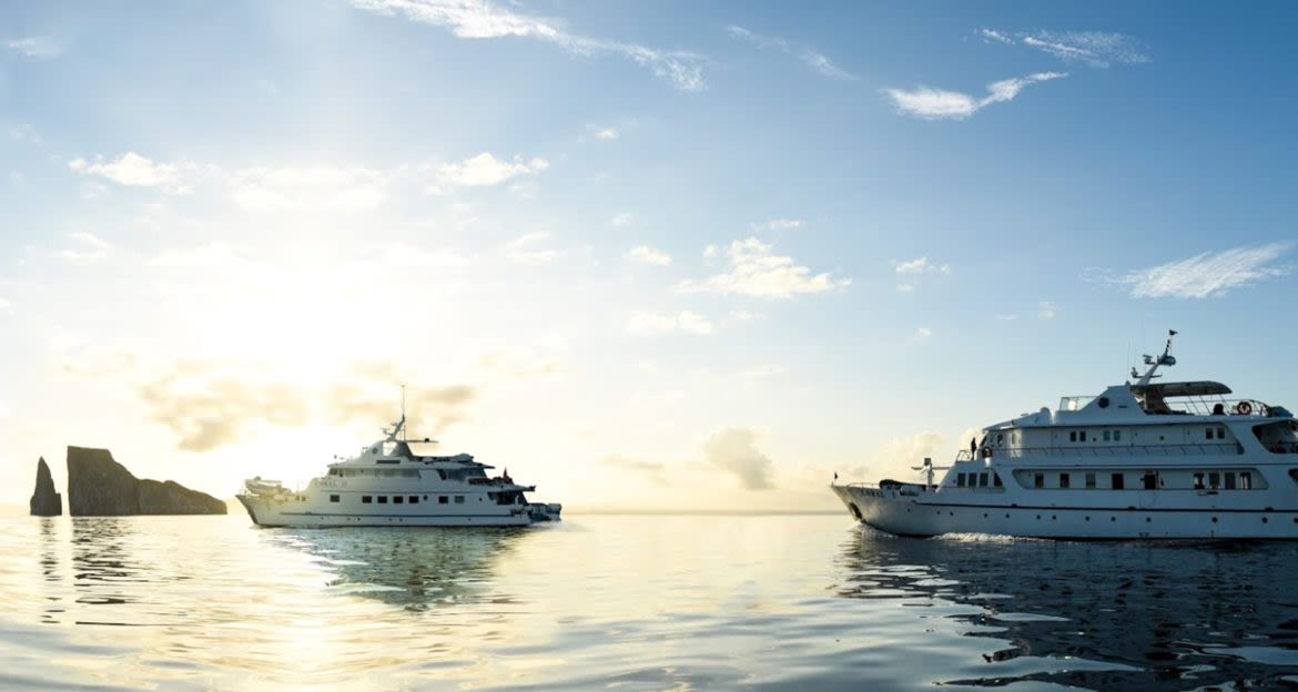 Two Galapagos cruise ships on the ocean