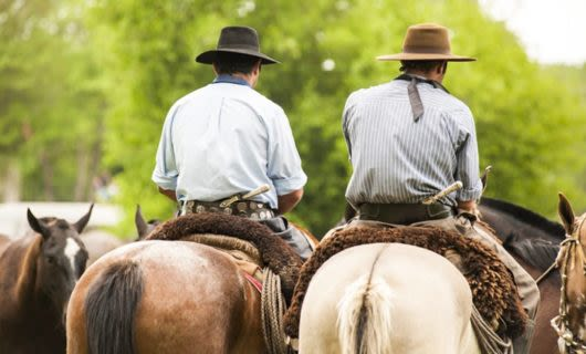 Two men ride horses away from camera