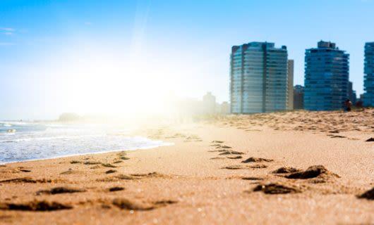 Low angle sun over Uruguay beach