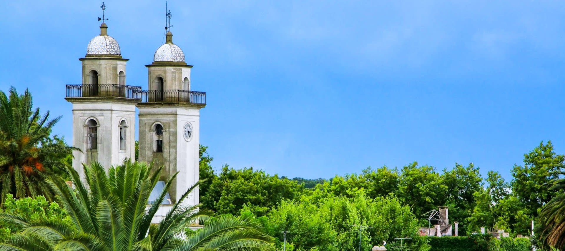 Historic church towers in Uruguay