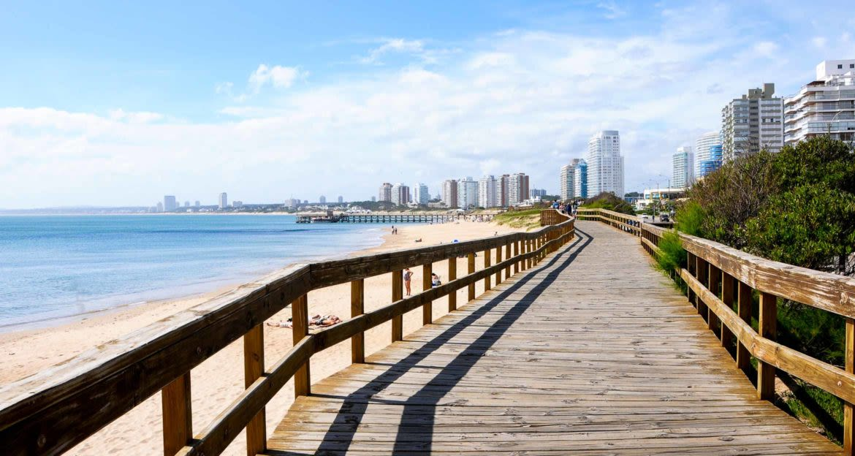 Boardwalk along beach in Uruguay city