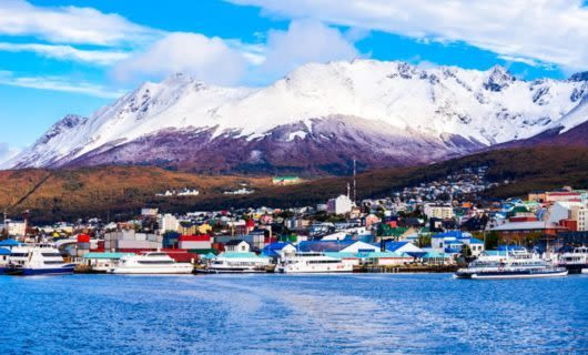 Harbor of Ushuaia town in Chile