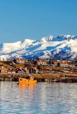 Ushuaia Harbor with sailboat
