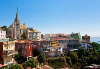 View of colorful buildings on a cliffside in Valparaiso on a tour of Chile