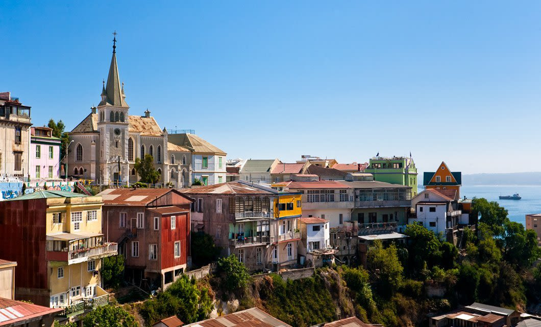 Colorful buildings on cliffside in Valparaiso