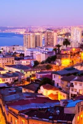 Evening view over Valparaiso, Chile