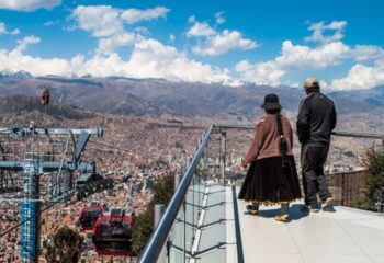 Woman in traditional clothing at a view point in La Paz Bolivia