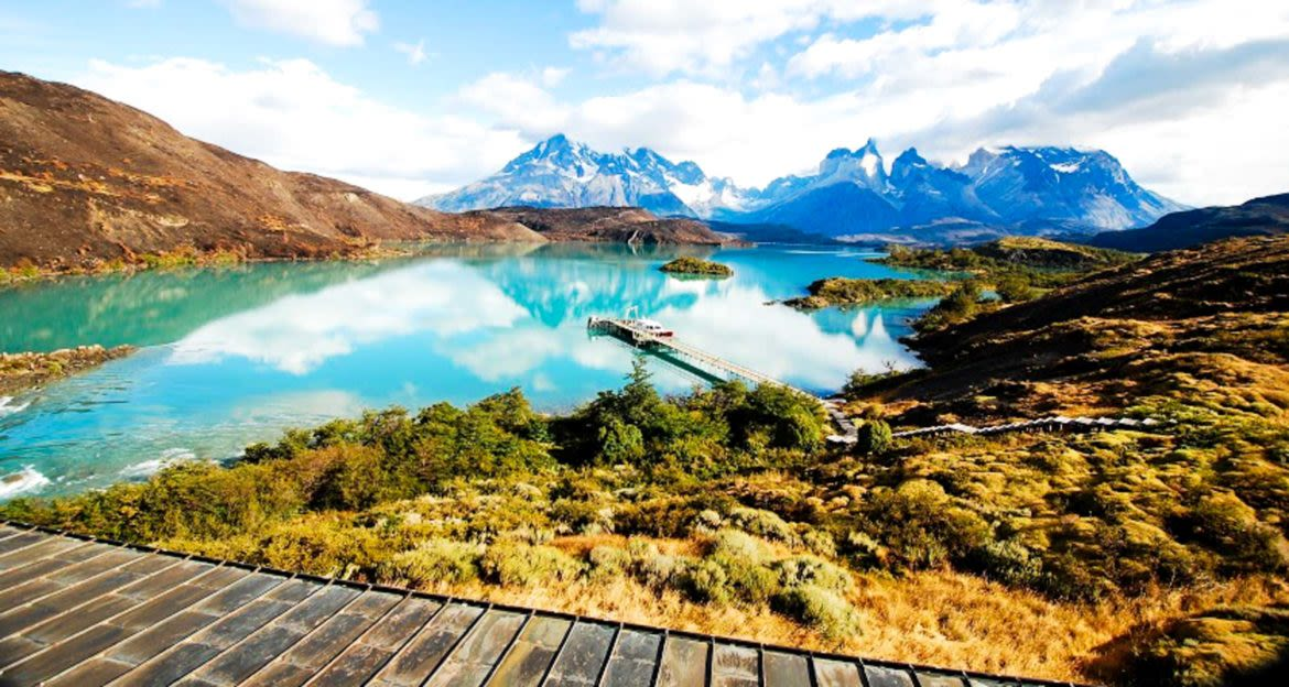 Walkway near Patagonia mountains and lake
