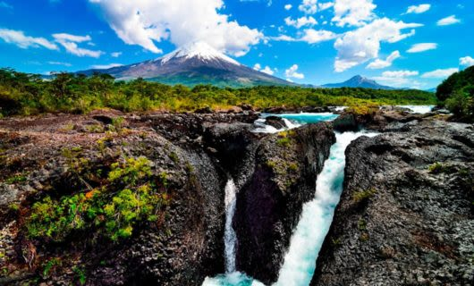 Waterfalls in rock landscape of Chile