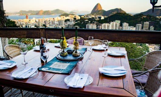 Wine tasting table in Brazil