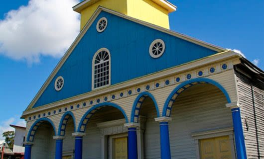 Blue and yellow church in Chonchi, Chile