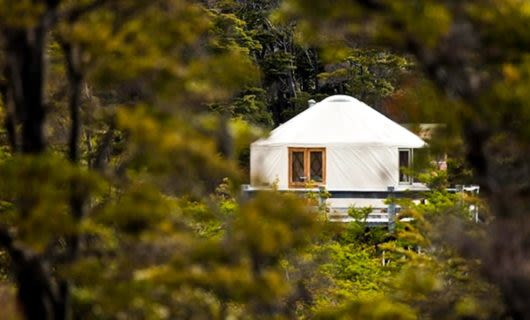View of yurt through trees