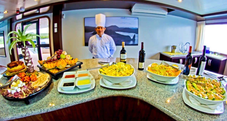 Food buffet on Ocean Spray cruise