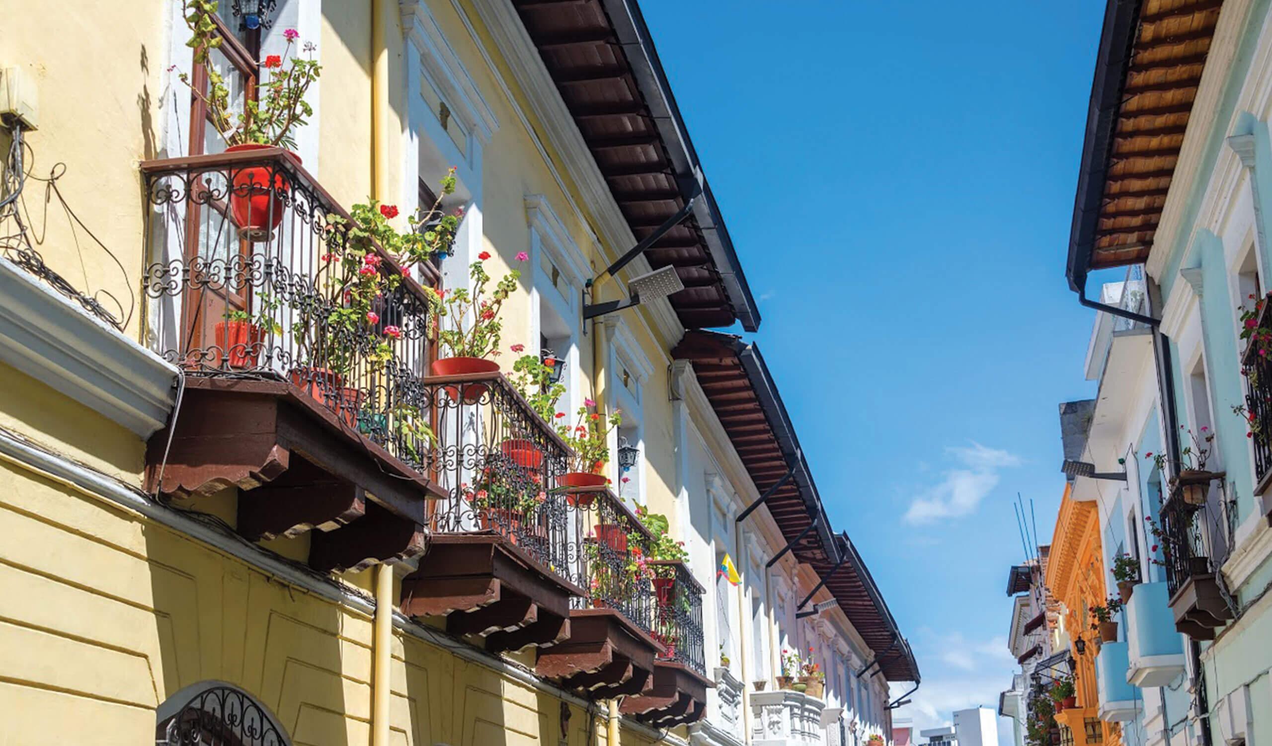 Historic streets of Quito Ecuador