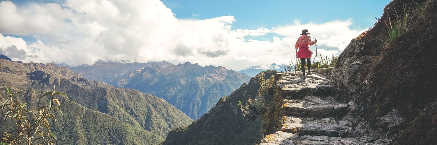 woman hiking the Inca Trail in Peru in the spring