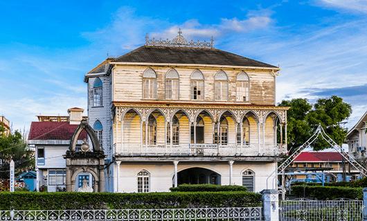 beautiful historic Colonial building in Georgetown Guyana