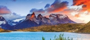 Patagonia sunset at Torres del Paine National Park