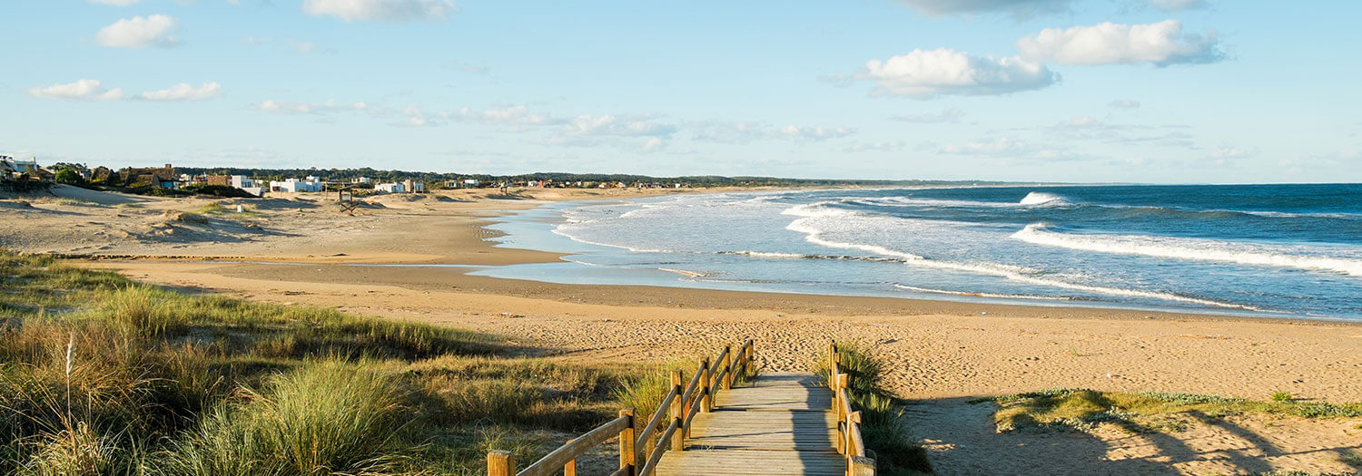 beautiful path to La Pedra beach in Uruguay during Summer