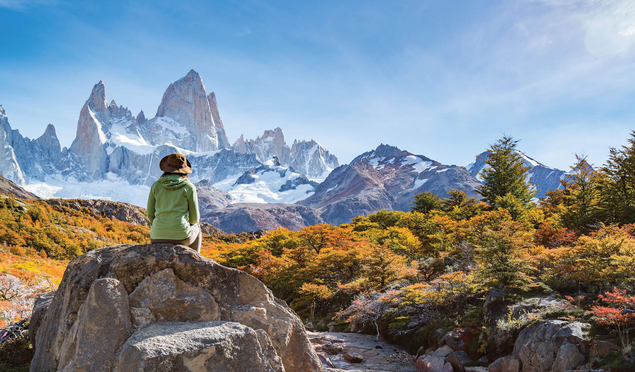 woman hiking in patagonia