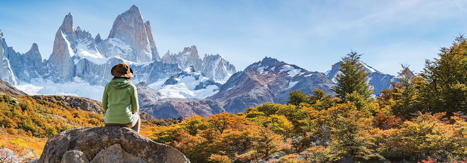 woman hiker in argentine patagonia in the fall