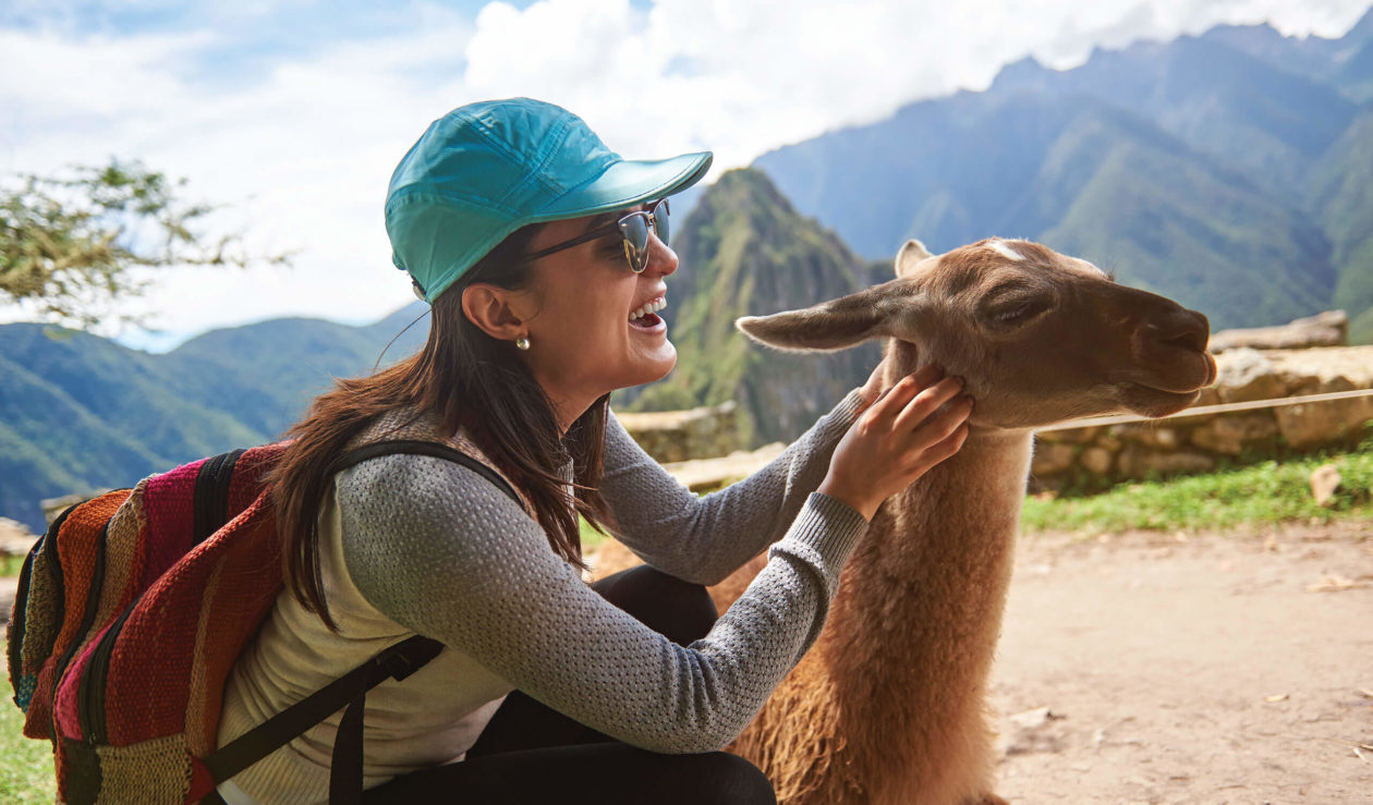woman petting llama at machu picchu mountain