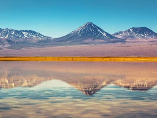 Mountains reflection on lake in Atacama Desert