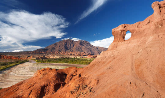 Views in Salta, Argentina of distant mountains and desert terrain