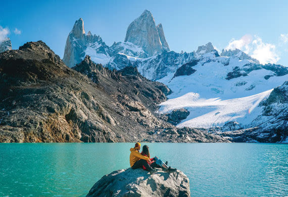 Couple enjoying views of the Patagonia mountains
