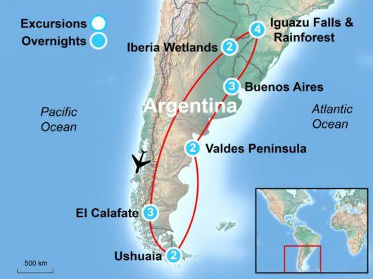 Tour Map of Wild Argentina