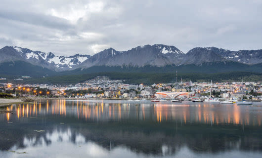 Ushuaia at dusk on cloudy day