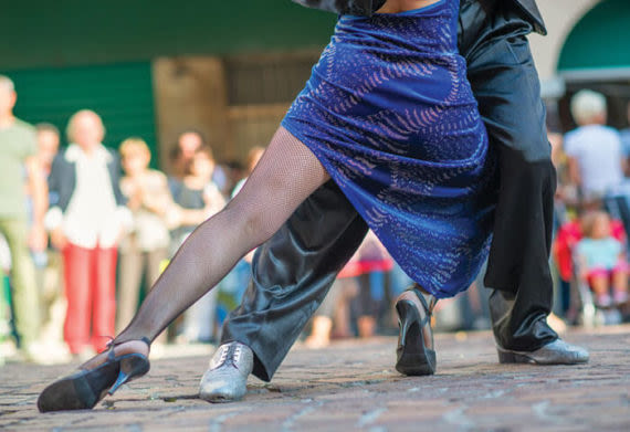 footsteps of professional dancers dancing the tango in argentina