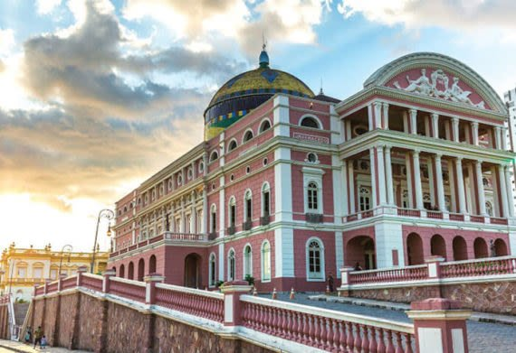 photo of the colorful Manaus Opera House