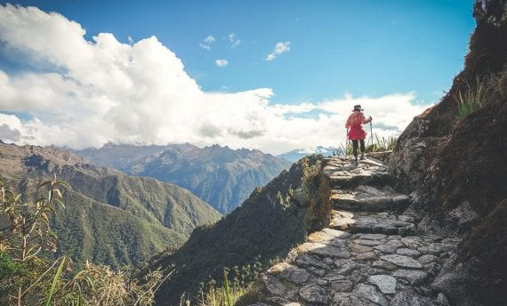 woman hiking the inca trail