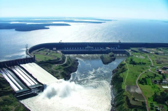aerial view of Itaipu Dam