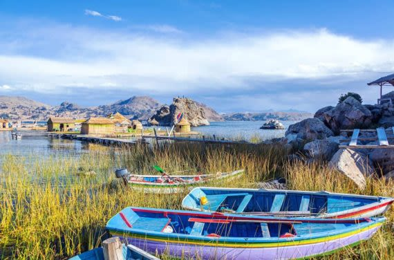 Boats on Lake Titicaca