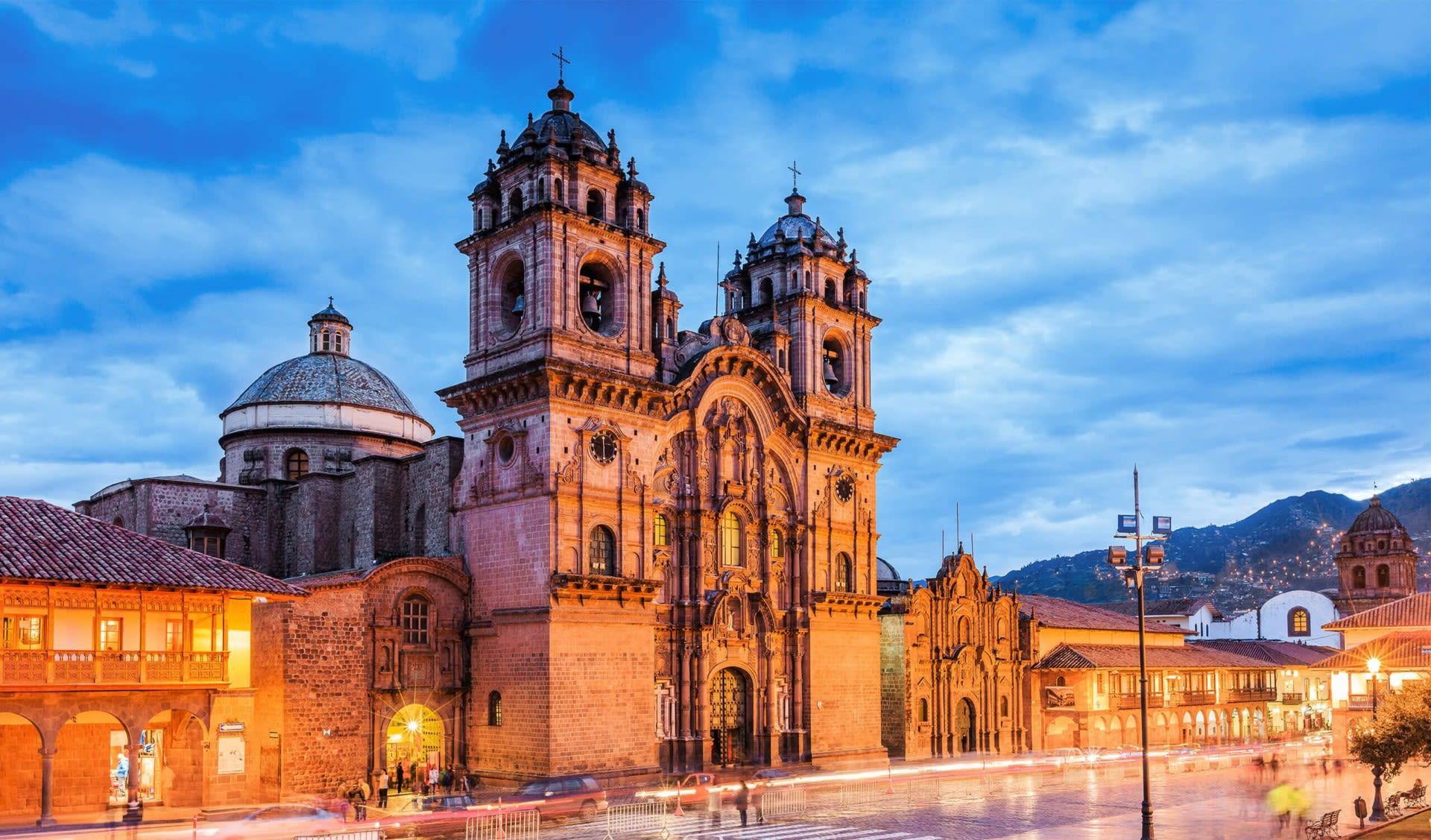 Peru cathedral at night