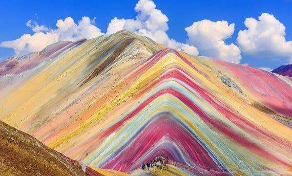 rainbow mountain on sunny day