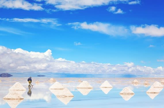 Man harvesting salt at Uyuni