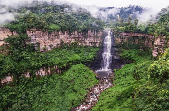 Tequendama falls on cloudy day
