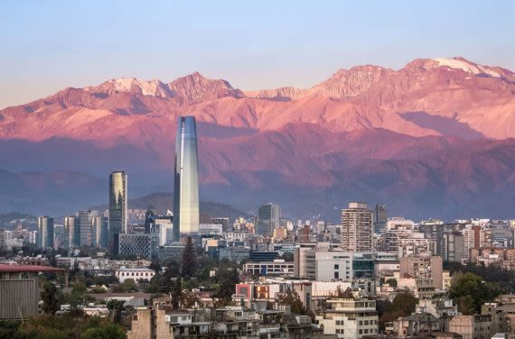 aerial view during sunset of santiago skyline