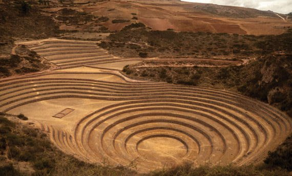 agricultural terraces in moray peru
